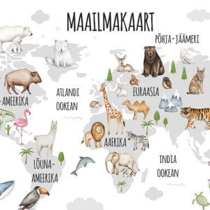 Maailmakaart, maakaardiga seinakleeps loomadega