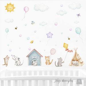 Koerad ja kassi, seinakleepsude komplekt lastele