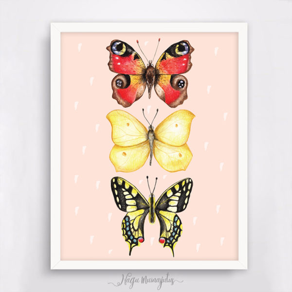 Liblikad poster, Eesti liblikatega seinapilt, dekoratsioon laste tuppa, sisustus