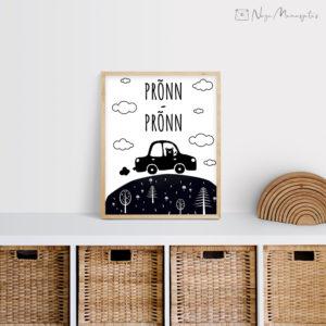 Autoga poster lastele, dekoratsioon laste tuppa