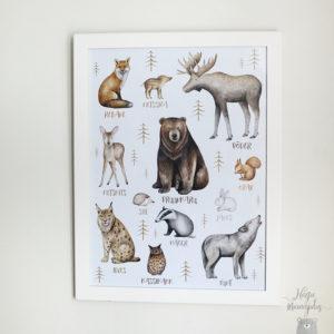 Metsloomadega poster lastetuppa