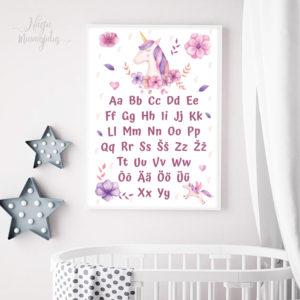 ükssarvikuga tähestik, poster laste tuppa, seinapilt, dekoratsioon