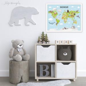 Maailma kaart loomadega, maakaart, poster lastetuppa
