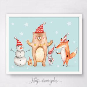 Muinasjutumetsa loomade talvised tegevused, jõulu poster lastele