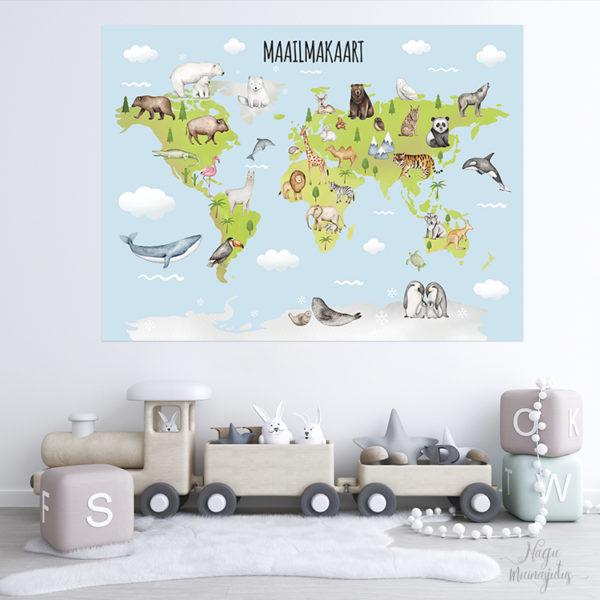 Maailma kaart loomadega, maakaart, seinakleeps, seinakleebis lastetuppa
