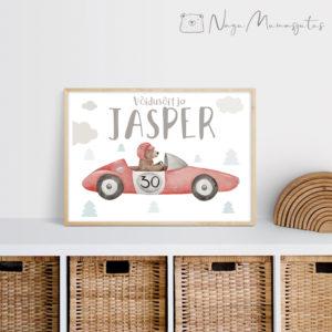 Retro auto poster lastele, laste toa dekoratsioon, vormel