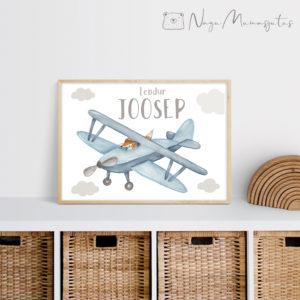 Retro lennukiga poster lastele, laste toa dekoratsioon