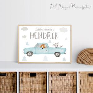 Retro auto poster lastele, laste toa dekoratsioon