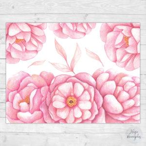 Pojengidega poster, lilled
