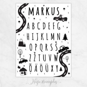 Autode ja tähestikuga poster, seinapilt lastetuppa, lapse nimega