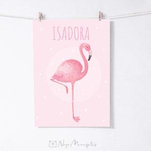 Flamingo poster lapse nimega lastetuppa, dekoratsioon