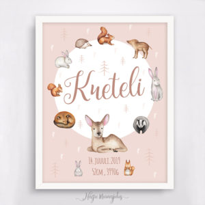 Loomadega poster beebi sünniandmetega