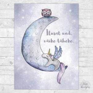 Kuu ja ükssarvik poster lastetuppa