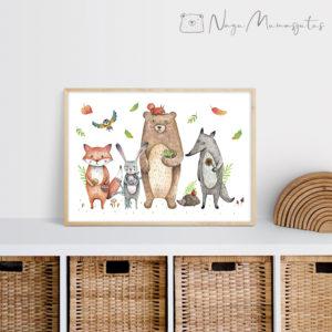 Metsloomadega poster lastele, dekoratsioon laste tuppa