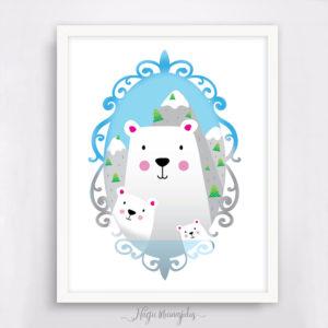 jääkaru perepilt, poster lastele