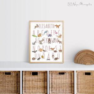 Tähestikuga poster lastele, dekoratsioon laste tuppa