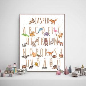 loomade ja tähestikuga postrid laste tuppa