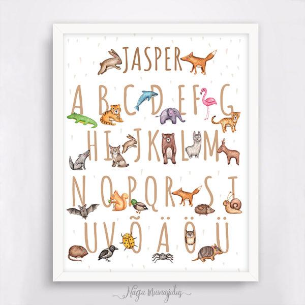Tähestik ja loomad poster lastetuppa, postrid lastetuppa