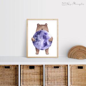 Kuu ja karu poster lastele, dekoratsioon laste tuppa