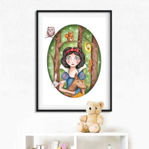 Lumivalgukese poster lastetuppa, seinapilt lastele