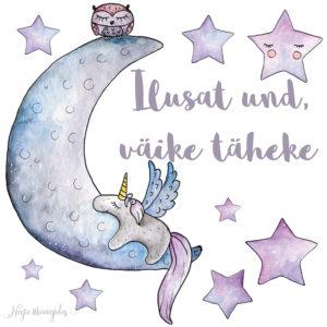 Kuu ja tähed seinakleeps lastetuppa.