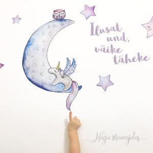 Kuu ja tähed seinakleeps laste tuppa