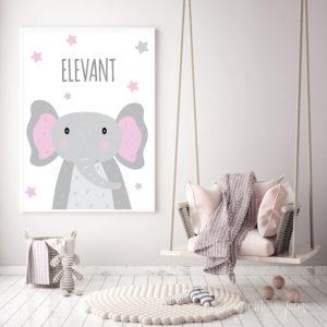 Elevandiga poster lastetuppa, seinapilt, dekoratsioon