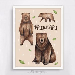 Karu poster lastetuppa, seinapilt, kingiidee