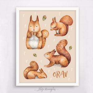 Oravaga poster lastetuppa, seinapilt, kingiidee