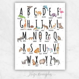 Inglise keelne tähestiku poster
