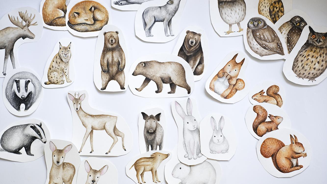 Akvarellmaal loomad