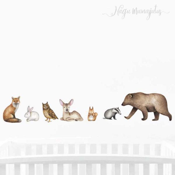 Metsloomadega taaskasutatav seinakleeps lastele