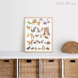 Eesti Tähestikuga poster lastele, dekoratsioon laste tuppa