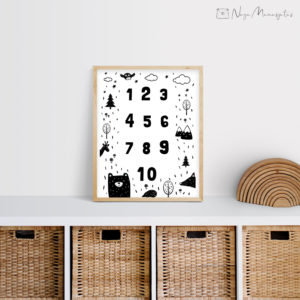 Numbritega poster lastele, dekoratsioon laste tuppa