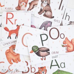 Tähestiku kaardid lastele tähetede õppiseks