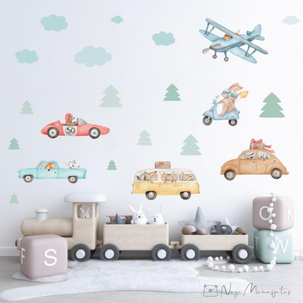 Autodega seinakleebis, seinakleepsude komplekt lastele